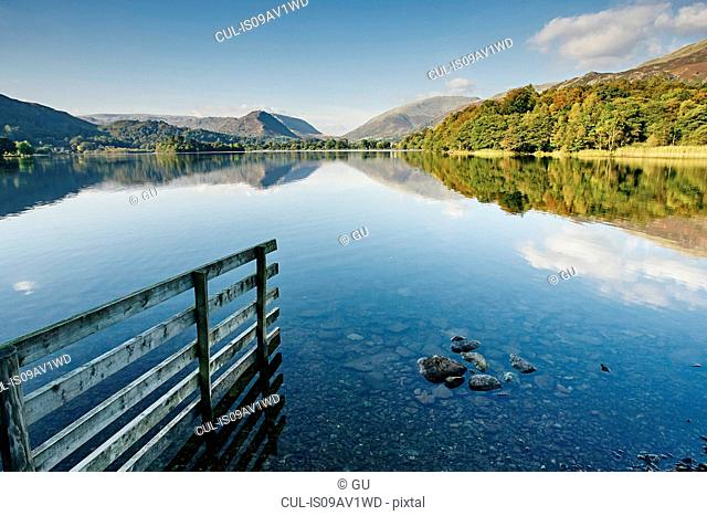 Landscape reflection in Grasmere Lake, Grasmere, Cumbria, UK