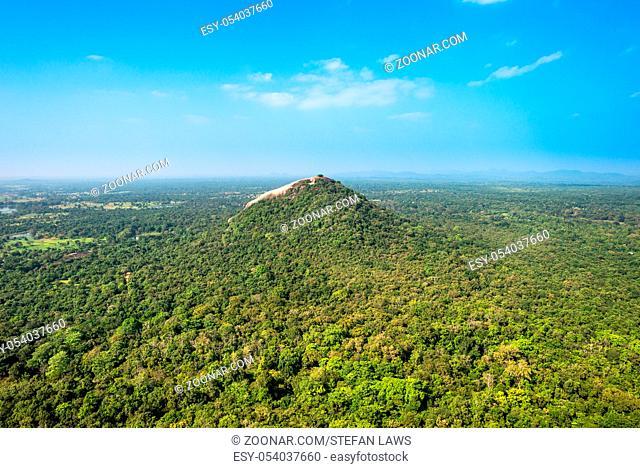 View to the Pidurangala rock, a few kilometers north of the historical fort Sigiriya