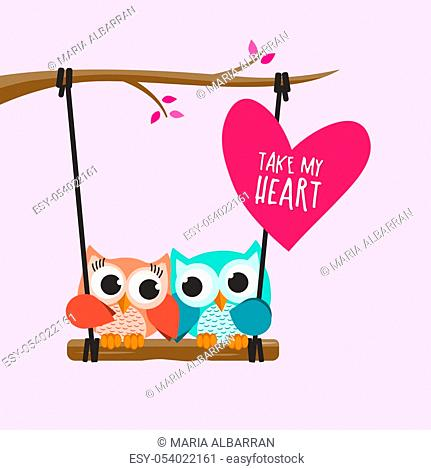Valentine owls in love in a swing on pink background. Vector illustration