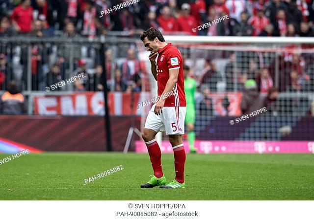 Munich's Mats Hummels seen on the pitch after the German Bundesliga soccer match between Bayern Munich and FSVMainz 05 in the Allianz Arena in Munich,Germany