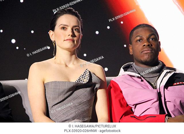 """Daisy Ridley, John Boyega 12/04/2019 """"""""Star Wars: The Rise of the Skywalker"""""""" Press Conference held in Pasadena, CA. Photo by I"""