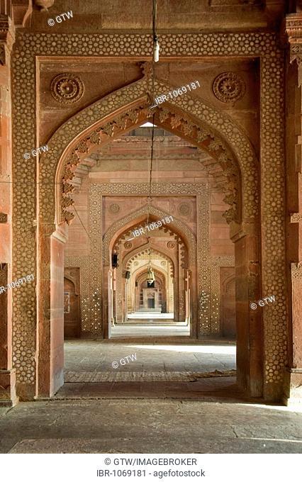 Jama Masjid Mosque, prayer hall, UNESCO World Heritage Site, Fatehpur Sikri, Uttar Pradesh, India, South Asia