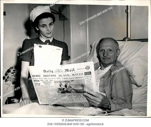 Jun. 06, 1955 - Viscount Montgomery In Hospital For Minor Operation: Photo Shows Field Marshall Viscount Montgomery seen at the King Edward II Hospital for...