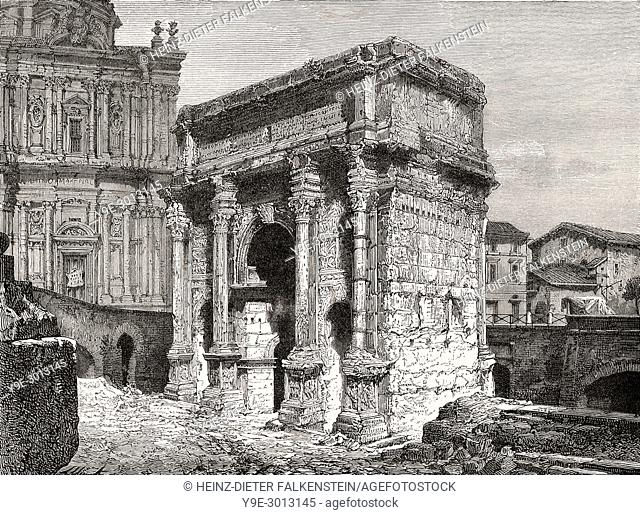 The Arch of Septimius Severus, Roman Forum, Rome, Italy, 19th Century