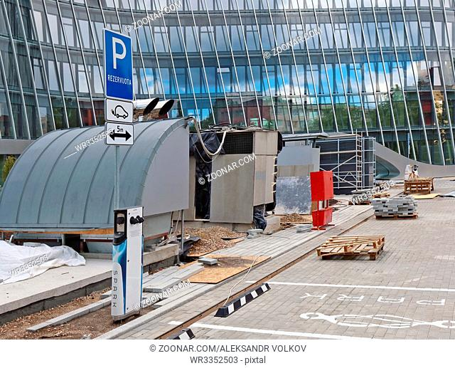 VILNIUS, LITHUANIA - JULY 06, 2017: Construction of a car park and a charging station for electrical machines of the Spark system