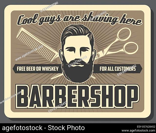 Barbershop mustache and beard razor shaving salon vintage poster. Vector gentlemen barber shop or hipster hairdresser, haircut scissors and hair trim comb or...