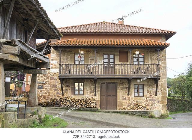 Lugas village Asturias mountains Spain on September 11, 2019 Typical rural architecture