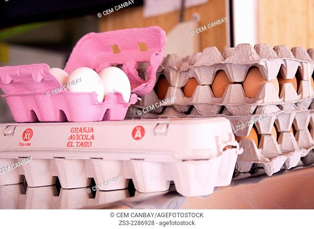 Eggs in box at the Mercado de Nuestra Senora de Africa market, Santa Cruz, Tenerife, Canary Islands, Spain, Europe