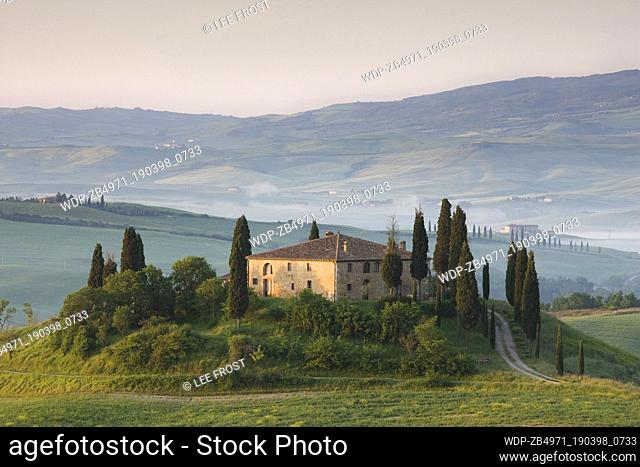 Italy Tuscany Near Pienza Dawn view of Belvedere in the Val d'Orcia, San Quirico d'Orcia