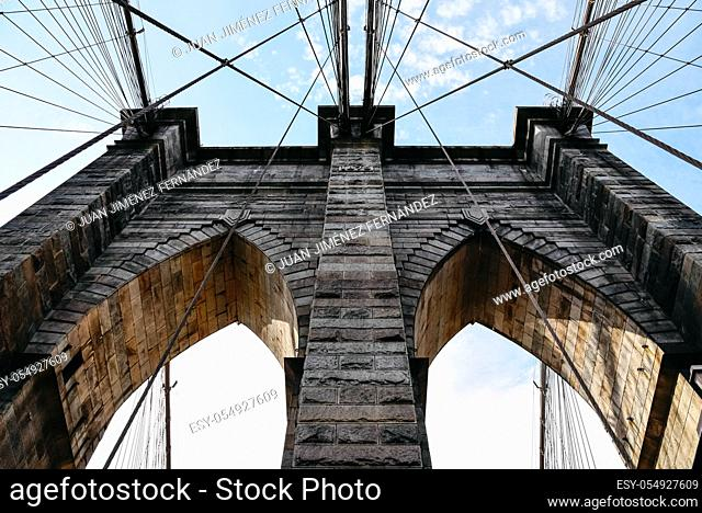 Low angle view of Brooklyn Bridge in New York City