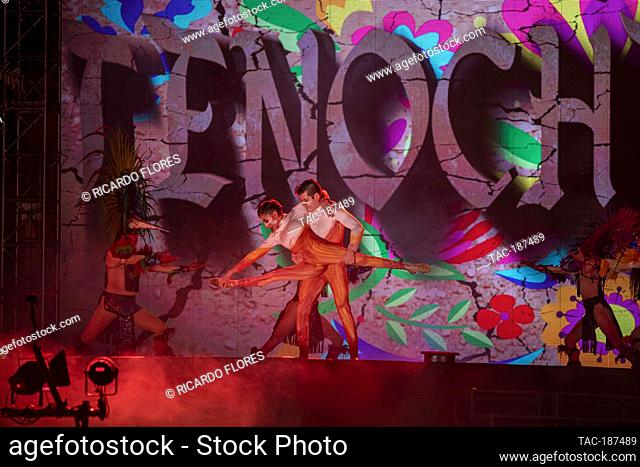 MEXICO CITY, MEXICO - JULY 10: Actors perform on stage during the show of Xochimilco Pre-Hispanic in the beginning season at Xochimilco Ecological Park on July...
