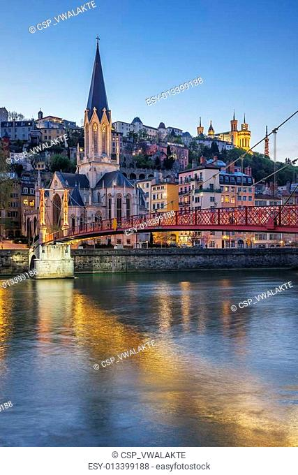 Vertical view of Lyon with Saone river