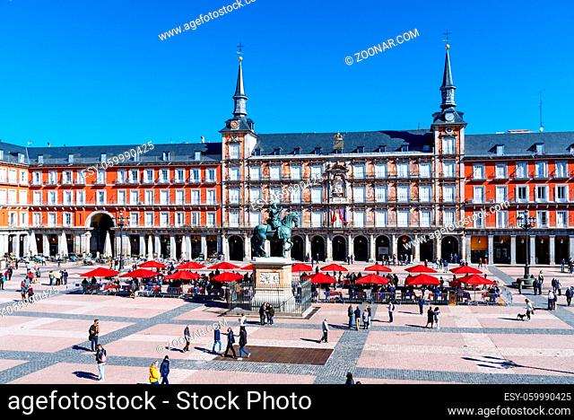 Madrid, Spain - April, 18 2021: Coins and Stamps Collectors Market in Plaza Mayor Square in Madrid. View during restrctions for coronavirus covid-19 pandemic