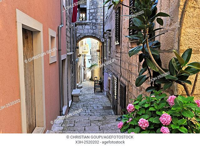 barrel-vaulted passage in a narrow street of Korcula old town, Korcula island, Croatia, Southeast Europe