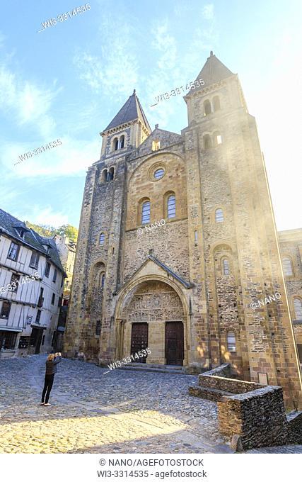 France, Aveyron, Conques, labelled Les Plus Beaux Villages de France (The Most Beautiful Villages of France), stop on El Camino de Santiago, Sainte Foy abbey