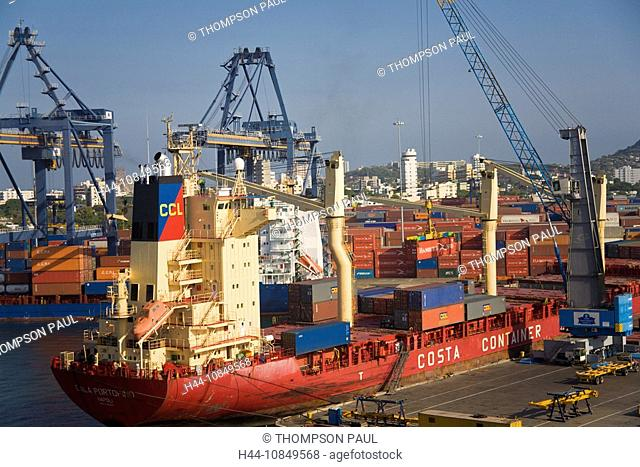Colombia, Cartagena, container, ship, unloading, docks, port, Central America, trade, import, export, shipping, crane