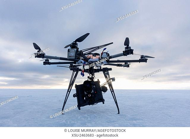 Octocopter drone used for filming 4G, hi definition filming during an Arctic documentary