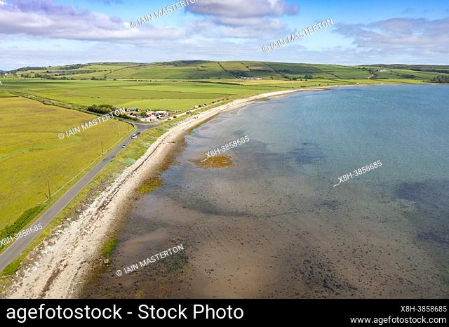 Aerial view from drone of Ettrick Bay Beach on Isle of Bute, Argyll and Bute, Scotland, UK