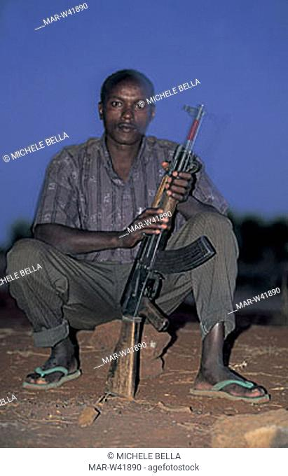 guard of the camp, el sod, ethiopia