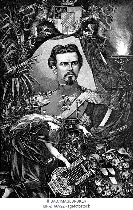 King Ludwig II of Bavaria, Ludwig II Otto Friedrich Wilhelm von Bayern, 1845 - 1886, decendant from the German royal house of Wittelsbach