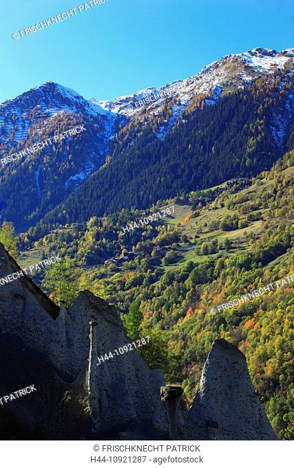 Benton, moraine, earth pyramid, earth pyramids, Eringer valley, erosion, Euseigne, form, shape, forms, shapes, autumn, autumn color, autumn colors, sky, loam