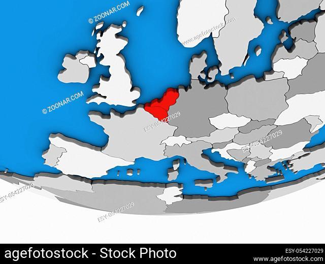 Benelux Union on simple political 3D globe. 3D illustration