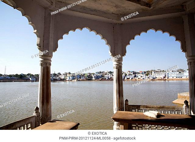 Pushkar Lake viewed from a gazebo, Pushkar, Ajmer, Rajasthan, India