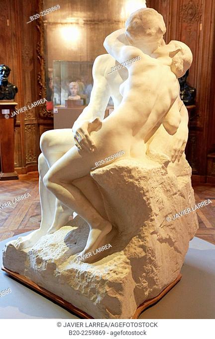 The Kiss, sculpture by Auguste Rodin. Rodin Museum. Paris. France