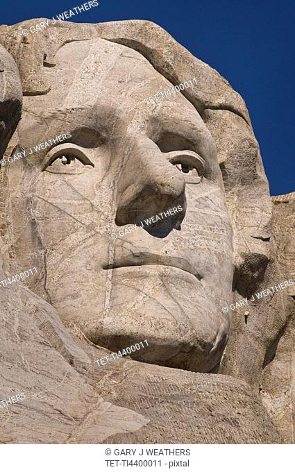 USA, South Dakota, Thomas Jefferson on Mt Rushmore National Monument