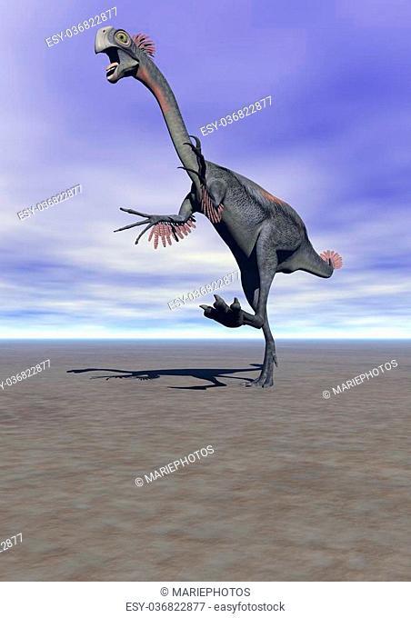 dinosaur gigantoraptor and sky blue