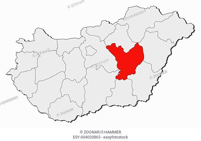 Map of Hungary, Jász-Nagykun-Szolnok highlighted