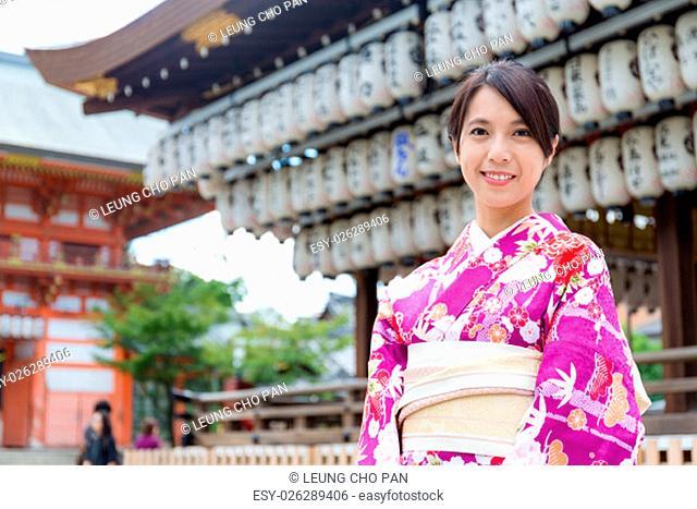 Woman wearing the kimono dress at temple
