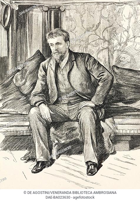 Portrait of the Dutch painter Lawrence Alma-Tadema (1836-1912), illustration from The Graphic, volume XXVII, 1883