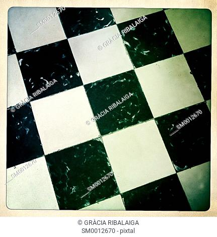 Hydraulic black and white checkerboard tile placed on the floor of a house