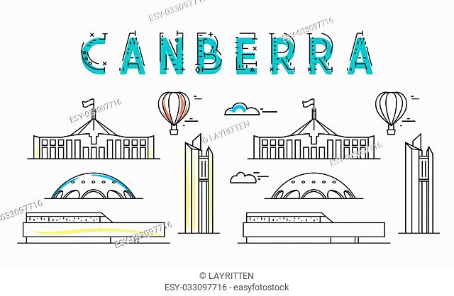Canberra. Capital city of Australia. Sights of the capital of Australia. Stylized city. Tourist advertising. Advertising template for travel agents