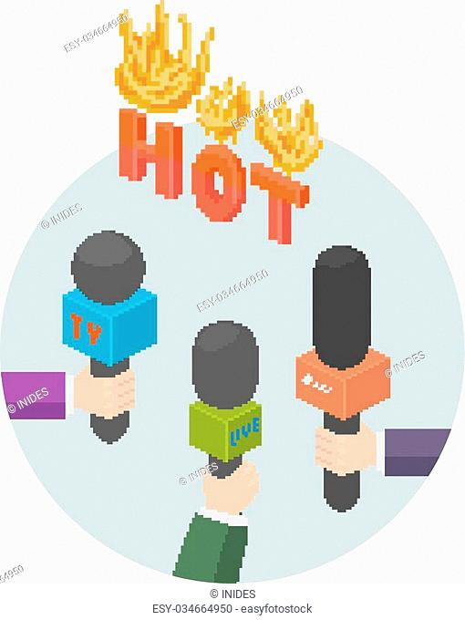 Hot news or report vector icon, arms with microphones, interview journalism icon illustration concept. Extra urgent announcement headline