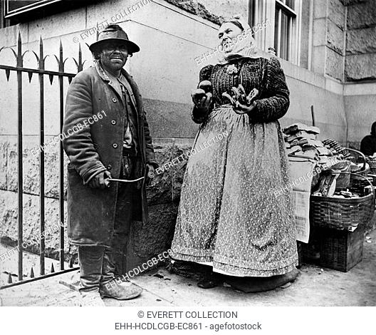 New York City, street types of New York City, pretzel vendor, photograph by Elizabeth Alice Aesten, 1896