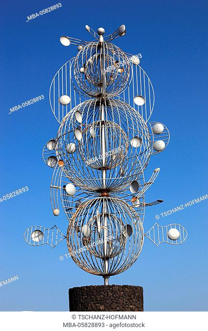 wind chime of César Manrique in the roundabout in Tahiche, Lanzarote, Canary islands, Spain