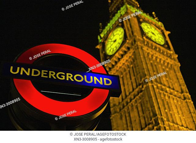 Underground sign, Elizabeth Tower, Big Ben, Clock tower, Houses of Parliament, Palace of Westminster, Bridge Street, City of Westminster, London, England, UK