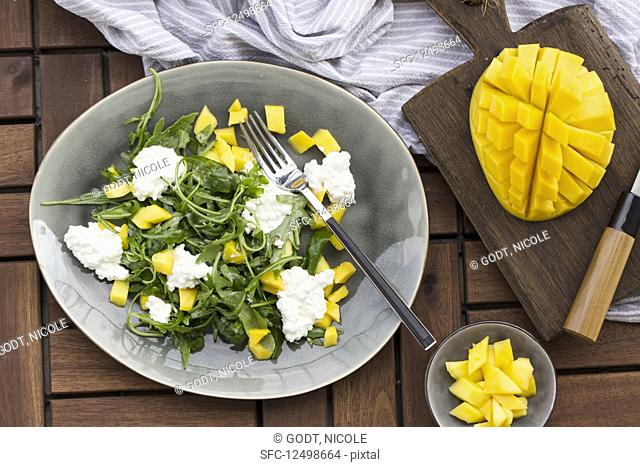 Rocket salad with mango and cottage cheese