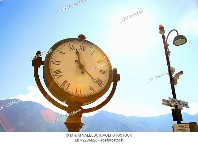 clock in Torbole, Trentino, Alto Adige, Garda lake, Italia