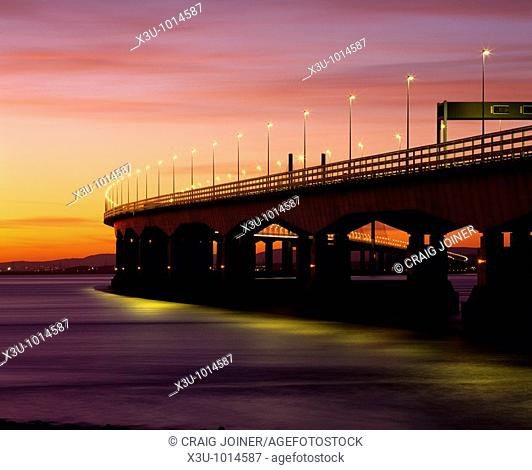 The Second Severn Crossing over the River Severn between England and Wales seen from Severn Beach in Gloucestershire, United Kingdom