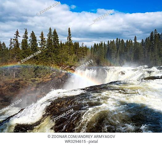 Ristafallet waterfall in the western part of Jamtland is listed as one of the most beautiful waterfalls in Sweden