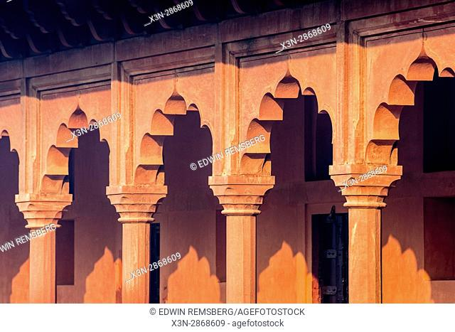 Columns of the Great Gate, the main entrance of the Taj Mahal, located in Agra, India