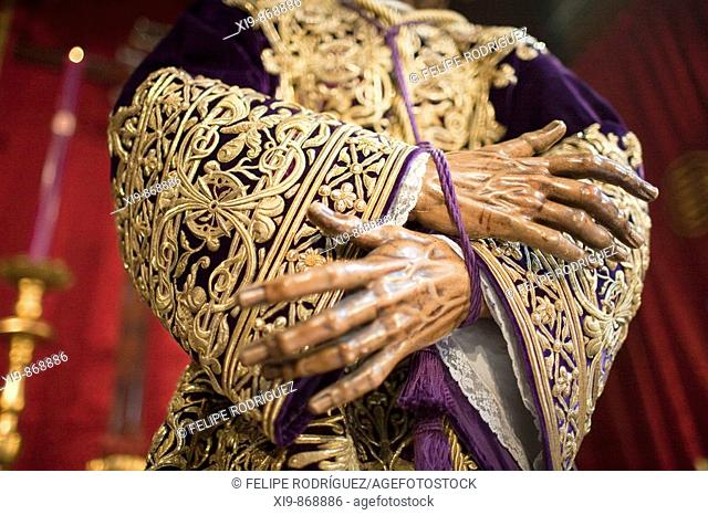 Tied hands of a Baroque carving of Our Father Jesus Nazareno by Francisco de Ocampo (c. 1610). It belongs to the Hermandad del Silencio and it's showed in the...