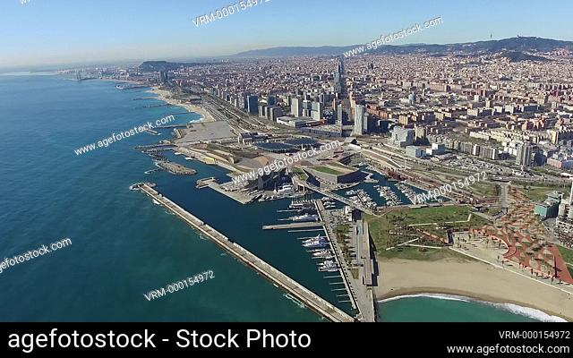 Aerial view of the Port Fòrum area, Diagonal Mar and the mouth of the Besòs river. Barcelona, Spain
