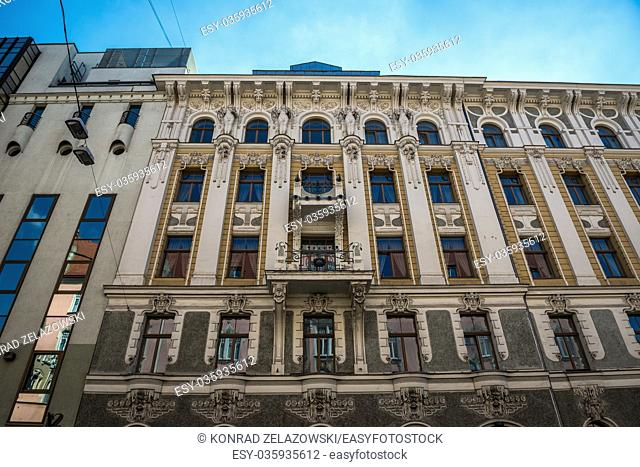Residential building on Gertrudes Street in Riga, capital city of Republic of Latvia