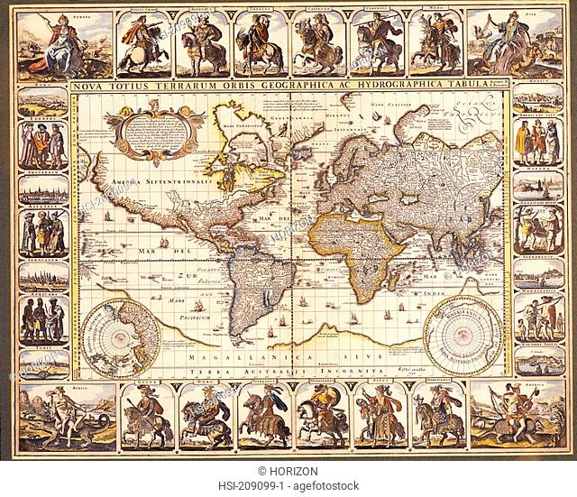 Historical map of the world by gerald valck entitled mappe monde artwork map historical map gumiabroncs Choice Image