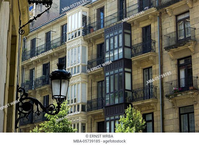Historical facades in the city centre, Donostia-San Sebastián, Gipuzkoa, the Basque Provinces, Spain