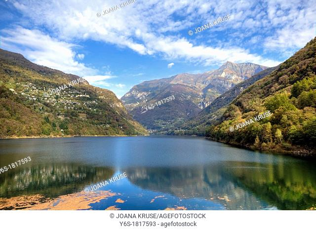 Lago di Vogorno is a reservoir at the end of the Verzasca Valley in Ticino, Switzerland